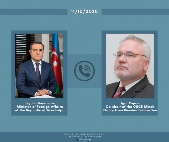 Ceyhun Bayramov İqor Popovla telefonla danışdı