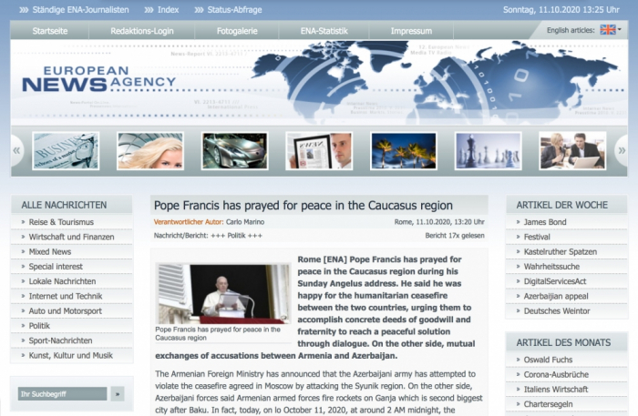 European News Agency writes about missile attack on Ganja