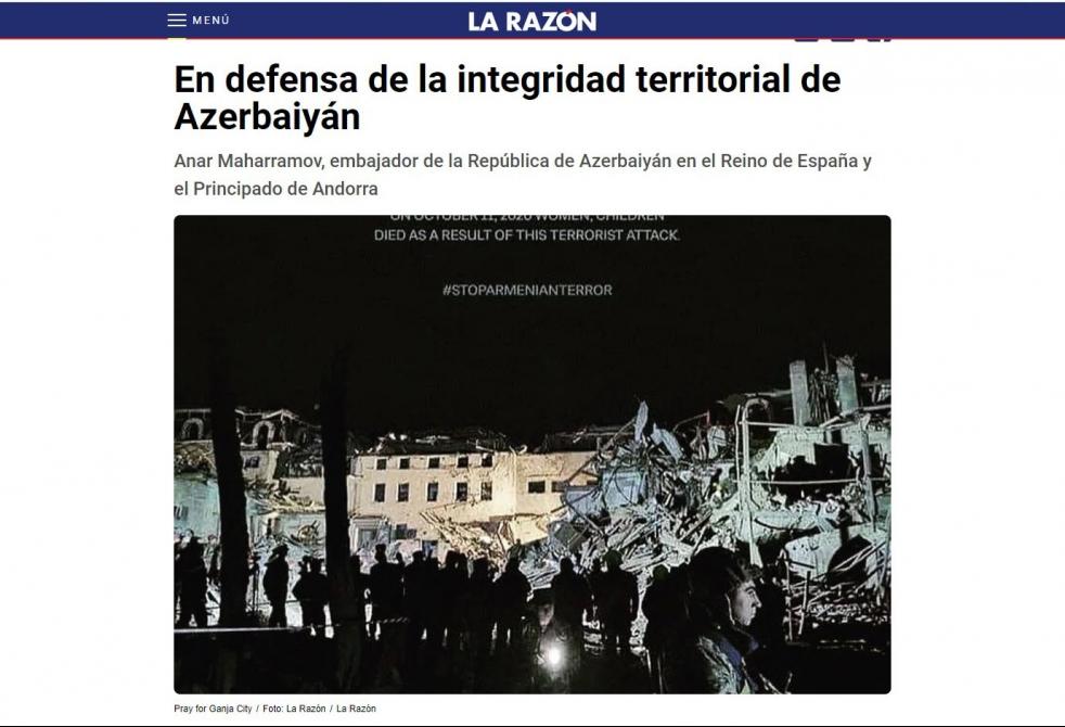 """""""Azərbaycan öz ərazi bütövlüyünü müdafiə edir"""" -   İspaniya mətbuatı"""