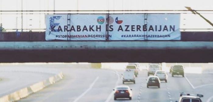 """Hyustonun mərkəzində """"Qarabağ Azərbaycandır!"""" şüarı"""