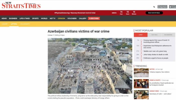 New Straits Times: Azerbaijan civilians victims of war crime