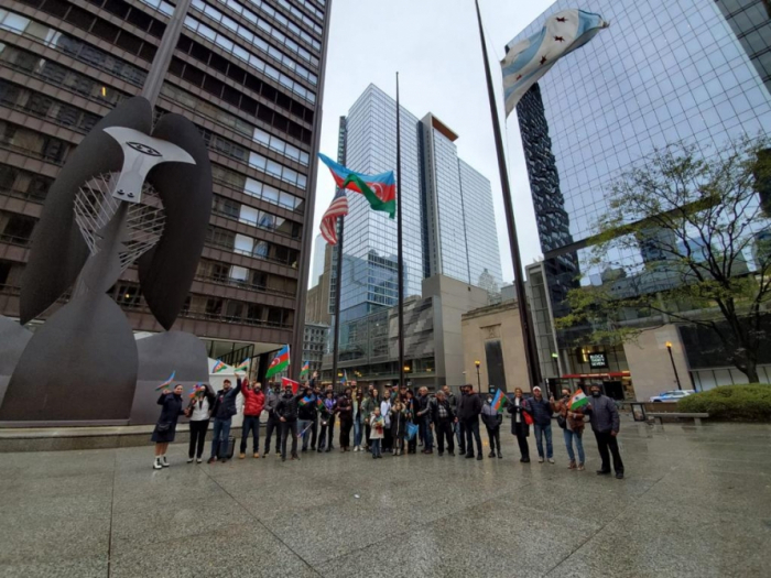Azerbaijani flag hoisted in Chicago