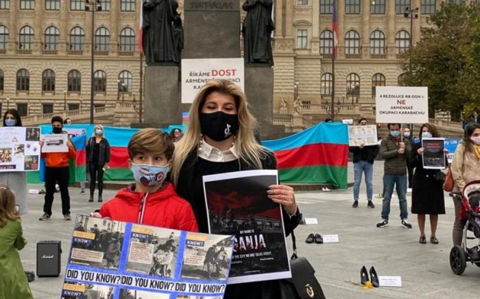 Nuestros compatriotas en la República Checa protestan contra el vandalismo armenio