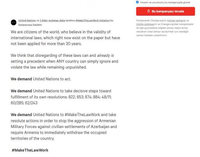 إطلاق التماس لدعم تنفيذ قرارات الأمم المتحدة بشأن ناغورنو كاراباخ