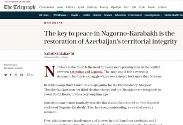 """صحيفة """"التلغراف"""":  الطريقة الرئيسية لضمان السلام في ناغورنو كاراباخ هي استعادة وحدة أراضي أذربيجان"""