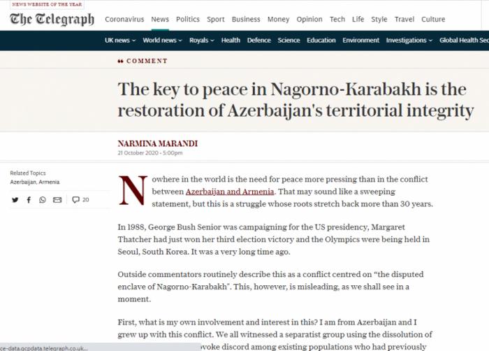 """""""The Telegraph"""" Qarabağ həqiqətlərindən yazdı"""