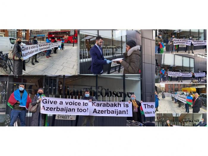 Los azerbaiyanos realizaron un mitin frente al edificio Guardian