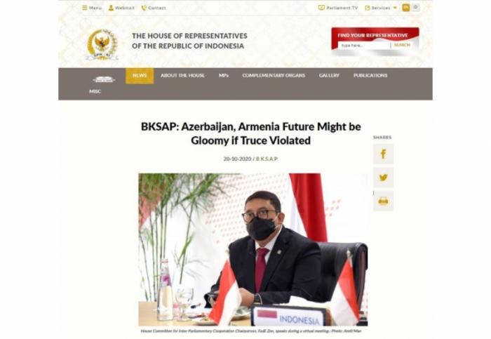 """""""La violación de la integridad territorial de Azerbaiyán es inaceptable"""" -   el parlamento indonesio"""