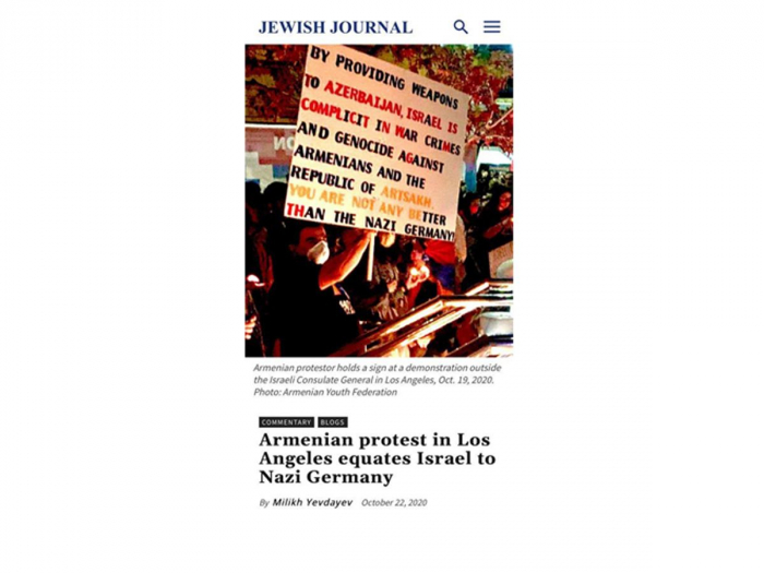 Jewish Journal publishes an article on Armenian protest in Los Angeles equating Israel to Nazi Germany