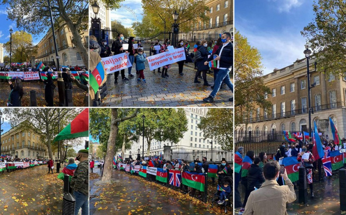 Azerbaijanis gather outside British PM's office to protest Ganja terror