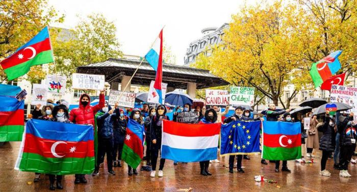 Azerbaijanis in Luxembourg held rally in protest of Armenian terror in Ganja