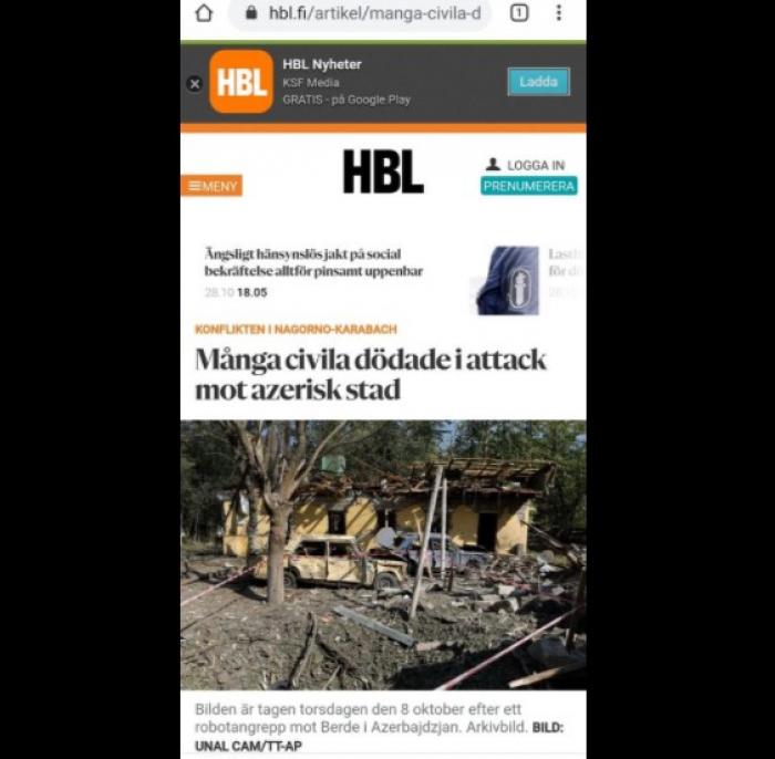 Swedish media highlights Barda terror committed by Armenia