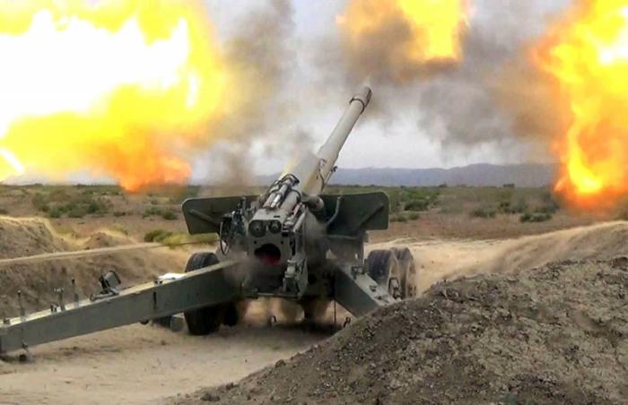 Gubadli under artillery shelling from Armenian territory