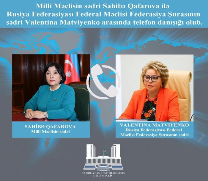 Azerbaijani Parliament speaker, Russian Federation Council chairperson hold phone talk