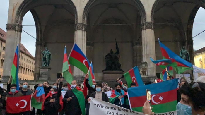 Protest rally against Armenia's missile attack on Ganja held in Munich