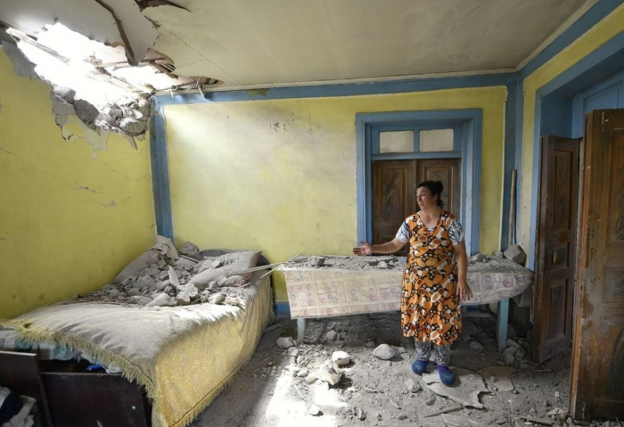 Armenia shells at Jojug Marjanli, houses severely damaged