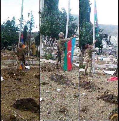 Azerbaijani Flag hoisted in liberated Sugovushan -  VIDEO