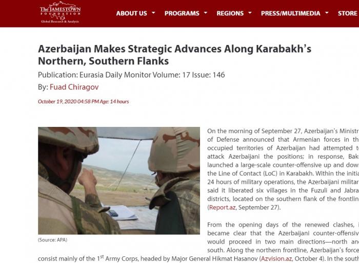 "Jamestown Foundation: ""Azerbaiyán está logrando avances estratégicos en Karabaj"""