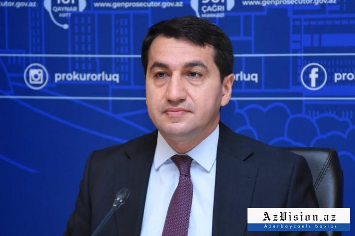 """""""Ermənistan hərbi cinayətlərinə son qoymalıdır"""" -   Hikmət Hacıyev"""
