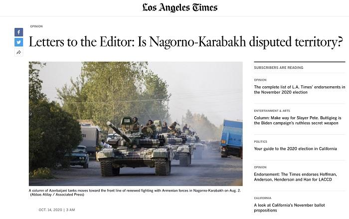 """Ermənistanın işğalçı siyasəti """"Los Angeles Times"""" qəzetində"""