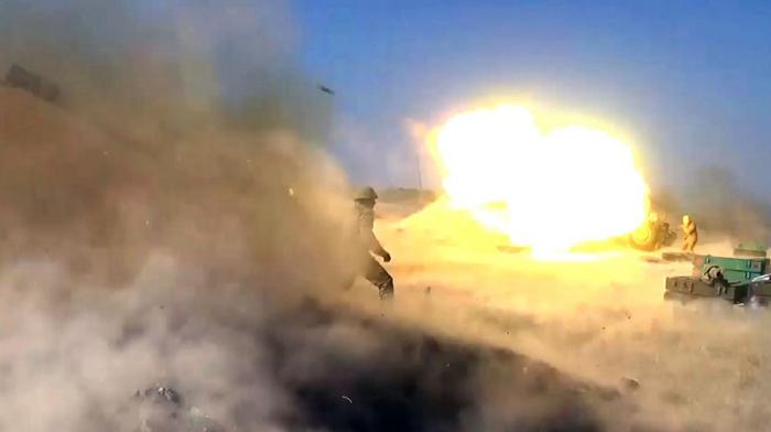 Düşmən mövqelərinə raket-artilleriya zərbələrinin endirilməsi -  VİDEO