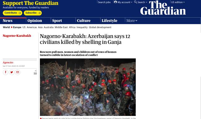 12 civilians killed by Armenian shelling in Ganja -  THE GUARDIAN