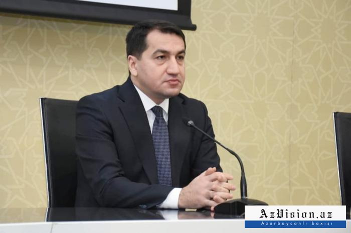 """""""Ermənistanın baş naziri xalqını aldatmaqla məşğuldur"""" -  Hikmət Hacıyev"""