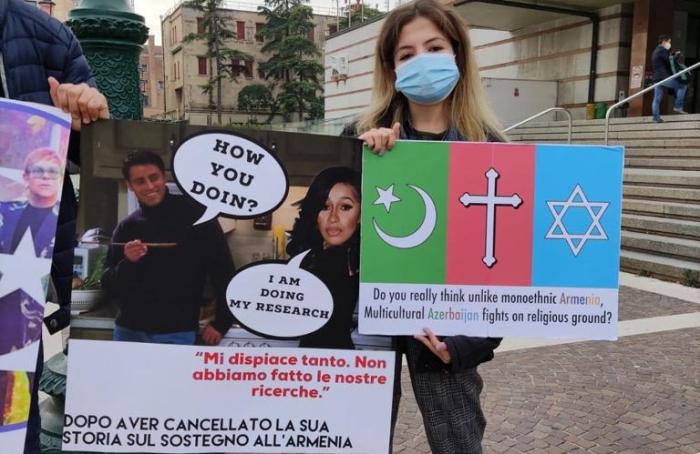 Venesiyada erməni terroruna etiraz edilib