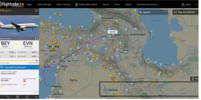 Flightradar24 displayed a plane with mercenaries flying from Lebanon to Armenia