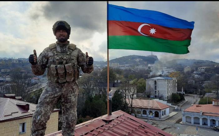 Azerbaijani serviceman, who hoisted Azerbaijani flag in Shusha -  PHOTOS