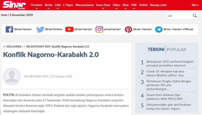 Nagorno-Karabakh conflict in spotlight of Malaysian newspaper