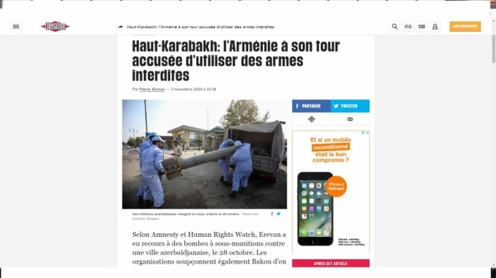 French newspaper highlights Armenia's use of banned cluster munitions against Azerbaijan