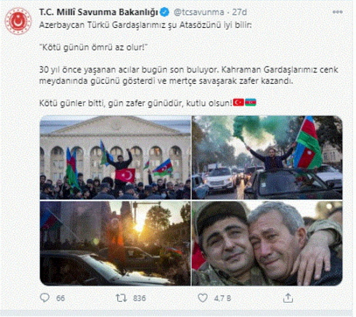 """Pis günlər bitdi, bu gün zəfər günüdür""""- Türkiyə MN"""