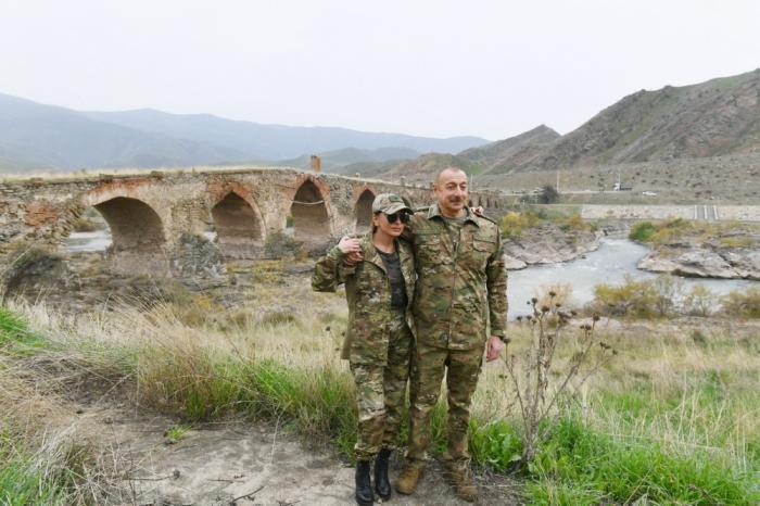 President Ilham Aliyev and First Lady Mehriban Aliyeva visit Khudafarin bridge -  PHOTOS
