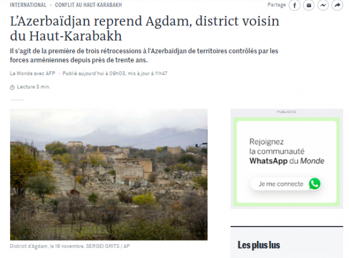 Le journal français «Le Monde» parle de la libération de la région d