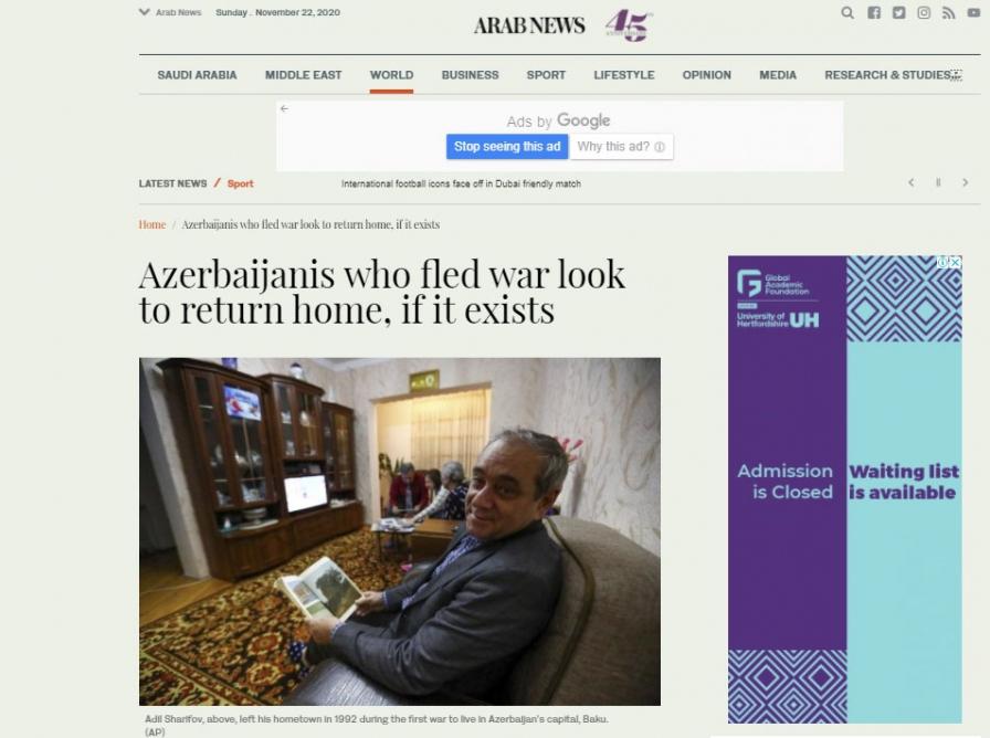 """""""Arabnews"""" qəzeti:    Azərbaycanlılar öz evlərinə qayıdır"""