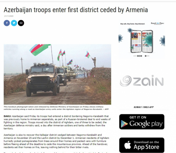 Azerbaijan troops enter first district ceded by Armenia -   Kuwait Times