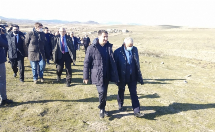 Hikmet Hajiyev shows the place where Armenians attacked our civilians