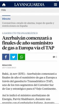 La prensa española escribe sobre las entregas previstas de gas azerbaiyano a Europa para finales de año