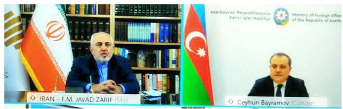 Aserbaidschanischer Außenminister hält ein Online-Treffen mit seinem iranischen Amtskollegen ab