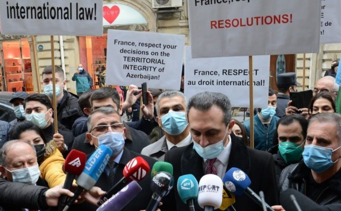 Protest rally held outside French embassy in Baku
