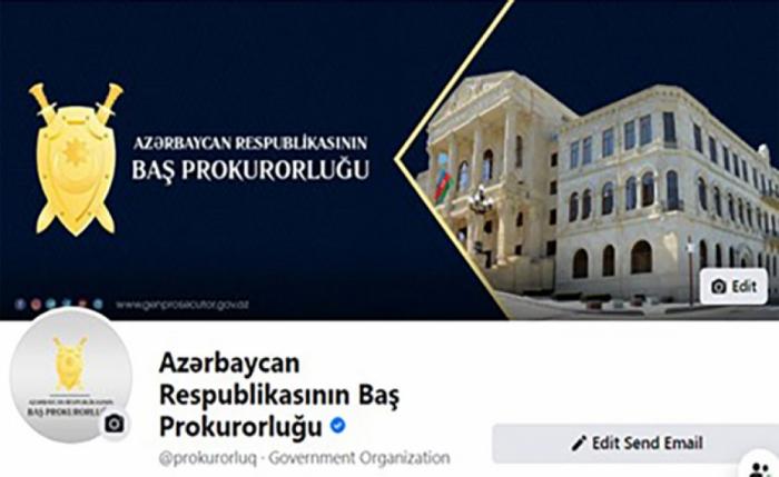 """Baş Prokurorluğun """"Facebook"""" səhifəsi mavi nişanla təsdiqləndi"""