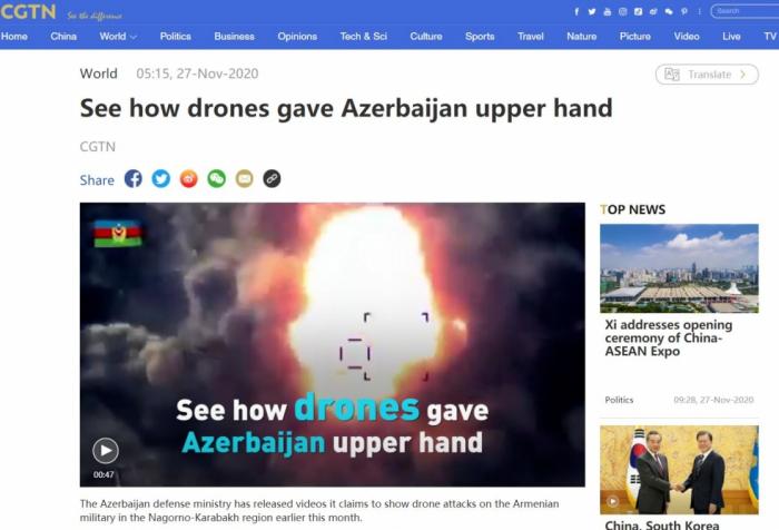 المنشور الصيني يكتب عن هجوم أذربيجان بالطائرات بدون الطيار