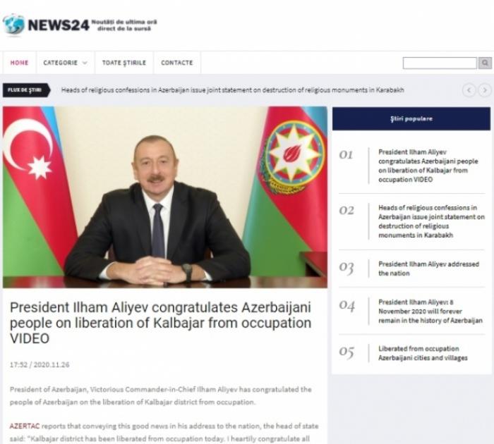 El portal rumano escribe sobre la liberación de Kalbajar de la ocupación