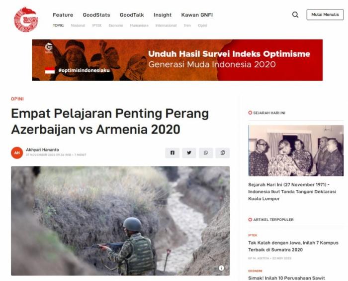 El sitio web indonesio escribe sobre la victoria de Azerbaiyán