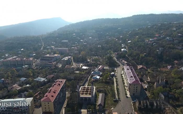 منظر جوي لمدينة شوشا -   فيديو
