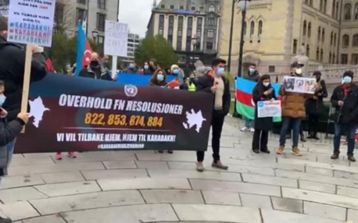 Osloda erməni terroruna qarşı etiraz aksiyası keçirildi -  FOTO