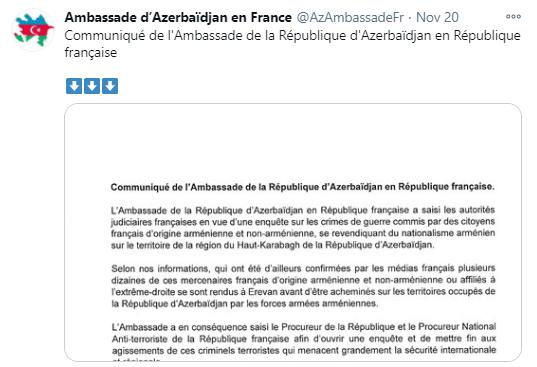 L'ambassade d'Azerbaïdjan demande une enquêtesur les crimes de guerre commis par des citoyens français au Karabagh