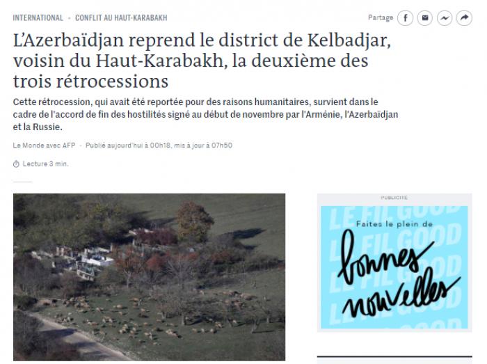 «Le Monde» parle de la libération de la région azerbaïdjanaise de Kelbedjer de l