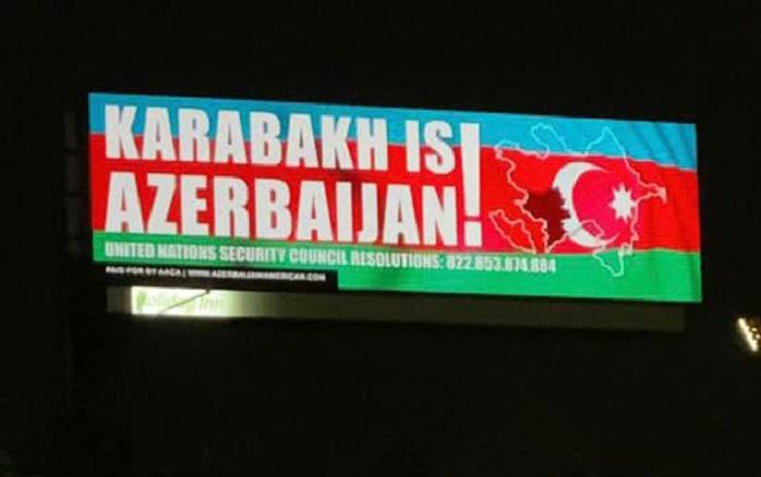 """""""Karabakh is Azerbaijan"""" yazılmış lövhələr Mayamidə -  FOTO"""